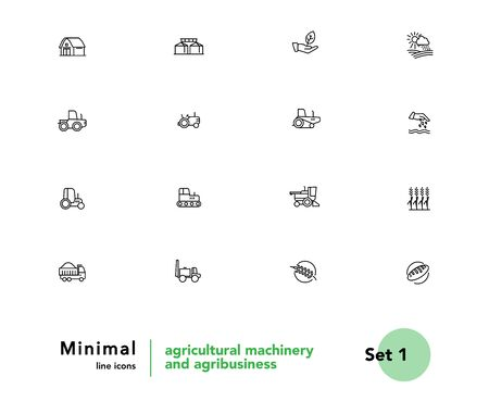 Agricultural machinery and agribusiness vector linear icons set. Agriculture. Farming and horticulture equipment outline symbols pack. Tractor and combine harvester isolated contour illustrations Foto de archivo - 133176115