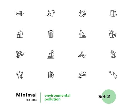 Environmental pollution vector linear icons set. Elements garbage outline symbols pack. Collection of simple sorting of waste icons isolated contour illustrations. Trash can. Banana peel. Recyclables Foto de archivo - 133176139