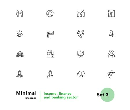 Income, finance and banking sector vector linear icons set. Business people outline symbols pack. Collection of business people and money icons isolated contour illustrations. Financial analytics