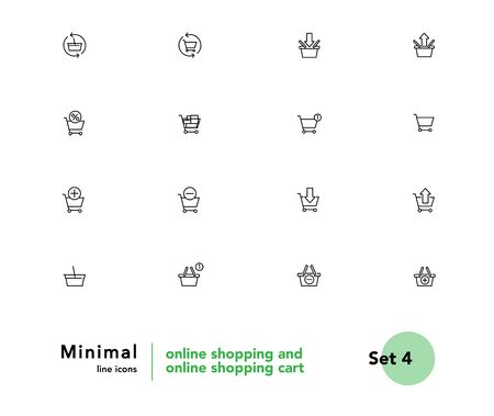 Baskets for online store vector linear icons set. Cart outline symbols pack. Collection of shopping baskets isolated contour illustrations. Empty basket. Add to cart. Shopping basket. E-commerce Foto de archivo - 133170229