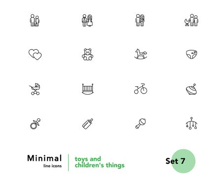 Toys and childrens things family and family values vector linear icons set. Childrens things outline symbols pack. Collection of baby things isolated contour illustrations. Bride and groom