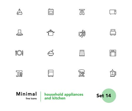 Household appliances and kitchen vector linear icons set. Kitchen outline symbols pack. Collection of cooking tools icons isolated contour illustrations. Scales. Microwave. Toaster. Electric kettle Foto de archivo - 133174831
