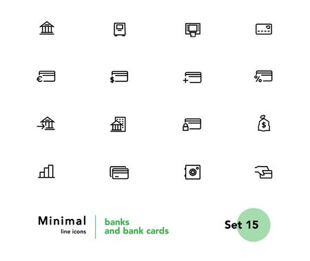 Finance, banking, investing vector linear icons set. Elements banking outline symbols pack. Collection of simple finance object icons isolated contour illustrations. Bank card. ATM. POS terminal Foto de archivo - 133175489