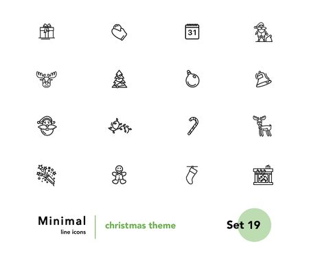 Christmas theme vector linear icons set. Elements christmas outline symbols pack. Collection of christmas theme icons isolated contour illustrations. Santa Claus. Gift. Candy. Garland. Pyrotechny Foto de archivo - 133175349