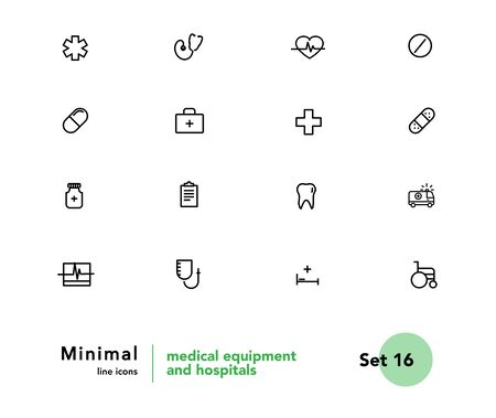 Medicine and medical equipment vector linear icons set. Medicine and health outline symbols pack. Collection of medical equipment isolated contour illustrations. Ambulance. Medicaments. Pill