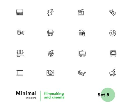 Film making and cinema equipment vector linear icons set. Cinema outline symbols pack. Collection of cinema equipment isolated contour illustrations. Camera. Clapper. Theater. TV. Bullhorn. Projector