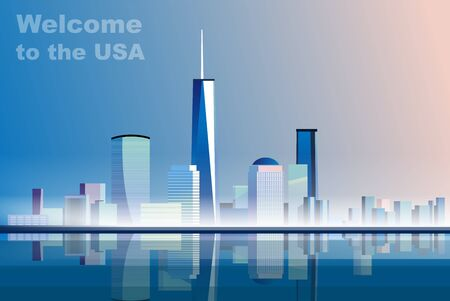 Welcome to the USA. Vector illustration travelling and holidays to the United States of America. Travel and tourism. Concept skyscrapers and houses of the USA. City landscape with high skyscrapers Foto de archivo - 133494048