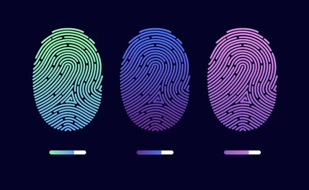 Fingerprints. Cyber security concept. Digital security authentication concept. Biometric authorization. Identification. Vector illustration of the fingerprint of different colors on a black background Foto de archivo - 133494053