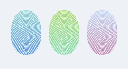 Fingerprints. Cyber security concept. Digital security authentication concept. Biometric authorization. Identification. Vector illustration of the fingerprint of different colors on a white background Foto de archivo - 133494055