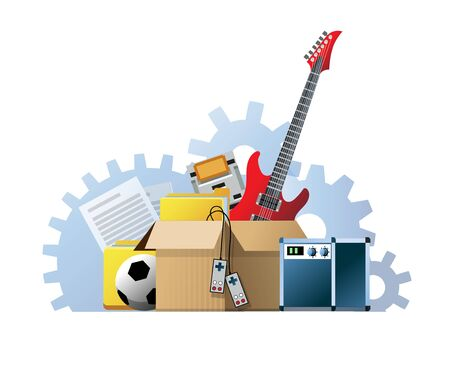 Vector illustration of a cardboard box with old things. Box with old stuff isolated on white background. Garage sale concept. Guitar, folder, game console, soccer ball, sound amplifier, documents Foto de archivo - 133494056