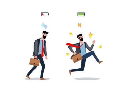 Flat modern vector illustration design full of energy and tired businessman isolated on white background. Business worker concept. Overworked and vigorous man. Energy of life