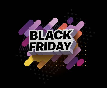 3d inscription black Friday sale poster template for promotion with colorful abstraction on a dark background. Vector illustration for black Friday sale. Design for poster, banners, flyers, card Foto de archivo - 133583182