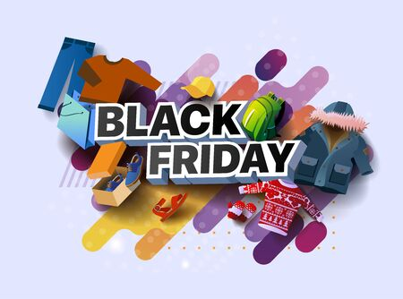 3d inscription black Friday sale poster with colorful things and clothes with shoes on a light background. Vector illustration for shopping period sale. Design for poster, banners, flyers, card Foto de archivo - 133583183