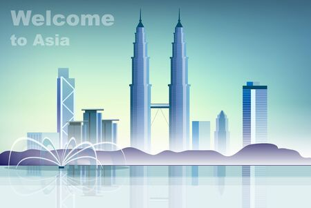 Welcome to Asia. Vector illustration travelling and holidays to Asia. Travel and tourism. Concept skyscrapers and houses of Asia. City landscape with high skyscrapers. Cityscape with landmarks Foto de archivo - 133863700