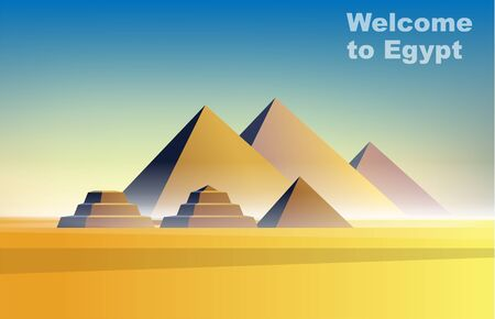 Welcome to Egypt. Vector illustration travelling and holidays to Egypt. Travel and tourism. Landscape pyramids history architecture. Egyptian pyramids panorama. Giza pyramid complex 일러스트