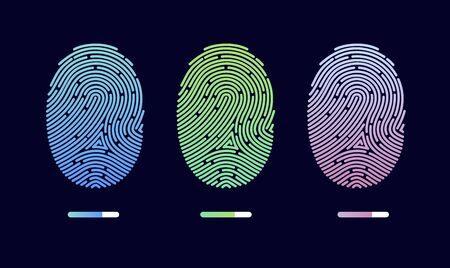 Fingerprints. Cyber security concept. Digital security authentication concept. Biometric authorization. Identification. Vector illustration of the fingerprint of different colors on a black background Foto de archivo - 133863635