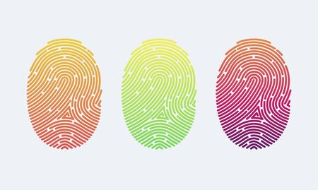 Fingerprints. Cyber security concept. Digital security authentication concept. Biometric authorization. Identification. Vector illustration of the fingerprint of different colors on a white background Foto de archivo - 133863634