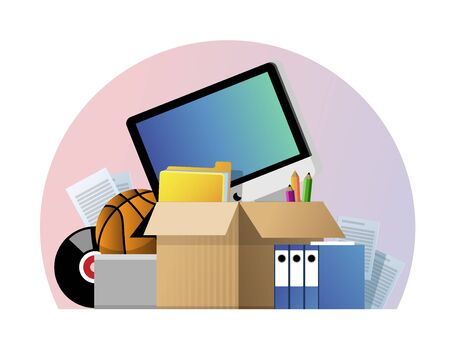 Vector illustration of a cardboard box with old things. Box with old stuff isolated on white background. Garage sale concept. Monitor, files, documents, folder, music plate, pencils, basketball