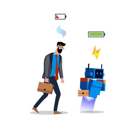 Flat modern vector illustration design full of energy robot and tired businessman isolated on white background. Business worker and android life energy concept. Overworked man and energy robot Foto de archivo - 133863637