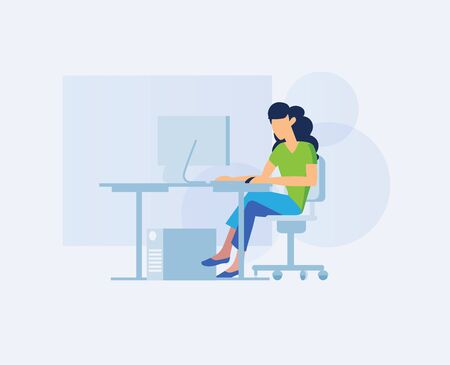 Girl at the office desk. Concept flat vector illustration woman working on a computer in office space. Elegant businesswoman in the workplace. Office workers side view. Freelancer female sitting poses Foto de archivo - 133863638