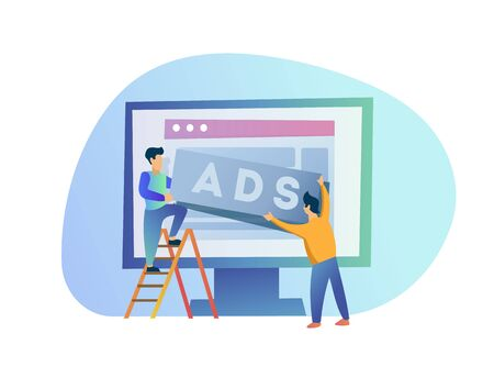 Two men post an ad. Advertisements. Ad unit placement. People place ads on a website on the Internet isolated on white background. Modern design vector illustration of workers at work. Cartoon style