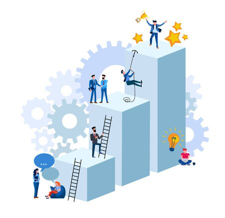 Employee's path to success. Flat modern design vector illustration of an employee from the team going to the top of success. Concept illustration of hard work to success isolated on white background