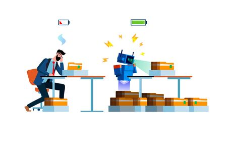 Flat modern vector illustration design full of energy robot and tired worker at work parsing folders isolated on white background. Worker and android life concept. Overworked man and energy robot