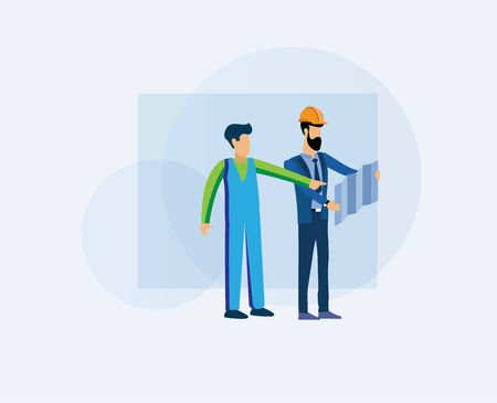 Construction worker and architect. Talk with architect job information. Flat design vector illustration designer and foreman negotiate project on plan. Professional team discusses construction project
