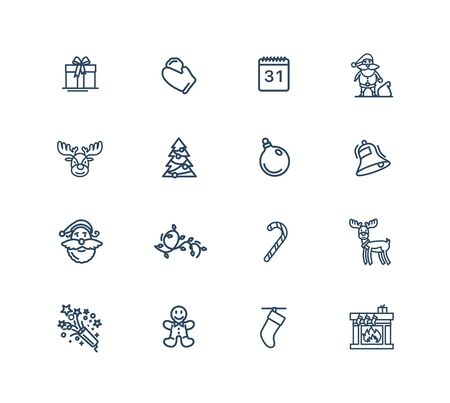 Christmas theme vector linear icons set. Elements christmas outline symbols pack. Collection of christmas theme icons isolated contour illustrations. Santa Claus. Gift. Candy. Garland. Pyrotechny Ilustracja