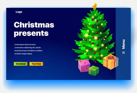 Website Christmas presents. Website providing of Christmas presents. Concept of landing page for Christmas presents. Vector website template with 3d isometric illustration of christmas tree and gifts