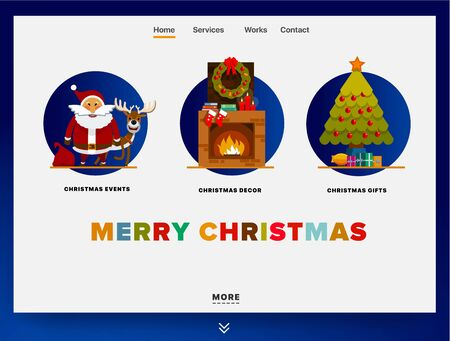 Website providing the service of Christmas events, decor, gifts. Concept of landing page Christmas theme. Design vector Christmas site template with illustration of Santa Claus with a deer and others Ilustracja