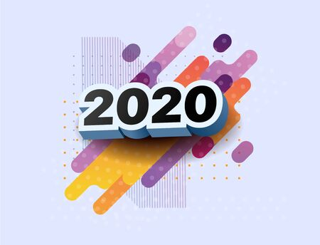 Happy New Year 2020 logo text design. Vector illustration 2020 symbol year from 3d numbers on colorful abstract background. Merry Christmas template brochure, invitations, cards, banners, flyers Ilustracja