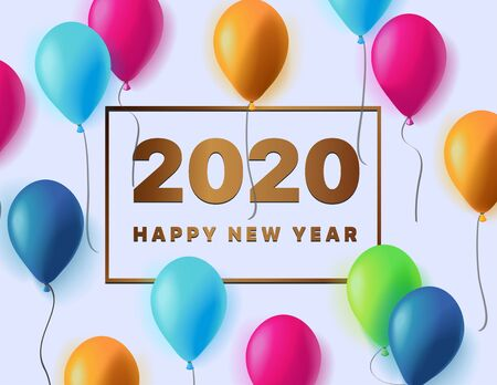 Happy New Year 2020 logo text design. Vector illustration 2020 symbol year from numbers and colorful 3d balloons on blue background. Christmas template brochure, invitations, cards, banners, flyers