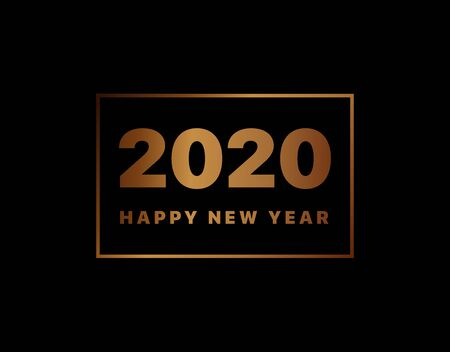 Happy New Year 2020 logo text design. Vector illustration 2020 symbol year from golden numbers isolated on black background. Merry Christmas template brochure, invitations, cards, banners, flyers Vettoriali