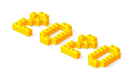 Happy New Year 2020 logo text design. Vector illustration 2020 symbol year from yellow 3d plastic building blocks isolated on white background. Christmas template brochure, invitations, card, banner