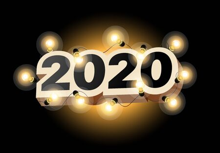 Happy New Year 2020 logo text design. Vector illustration 2020 symbol year from numbers and luminous garland on dark background. Merry Christmas template brochure, invitations, cards, banners, flyers