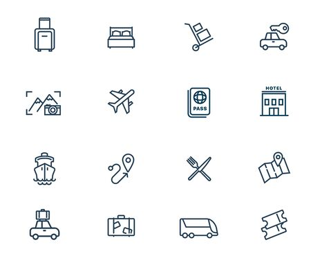 Travel and tourism vector linear icons set. Elements tourism outline symbols pack. Collection of travel icons isolated contour illustrations. Airplane. Ship. Bus. Car. Vehicle. Passport. Hotel. Map Ilustracja