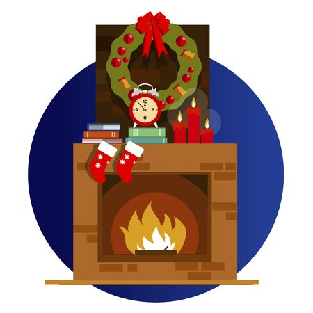Christmas fireplace in colorful cartoon flat style. Vector illustration of fireplace decorated for Christmas night. Merry Christmas and happy New Year. Xmas and fire, home decoration for celebration