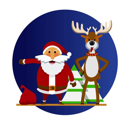 Angry Santa Claus and Christmas reindeer. Vector illustration of cartoon Santa Claus and deer who are angry. Santa Claus and deer character in a flat style. For holiday cards, posters, banners, web
