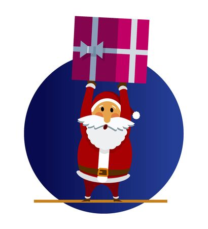 Santa Claus and Christmas gift. Vector illustration of cartoon Santa Claus brought present. Gift box from Santa Claus character in a flat style. For holiday cards, posters, banners, web