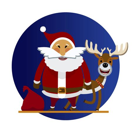 Cheerful Santa Claus and Christmas reindeer. Vector illustration of cartoon Santa Claus and deer who are happy. Santa Claus and deer character in a flat style. For holiday cards, posters, banners, web Ilustracja