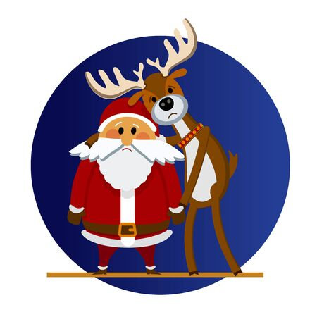 Sad Santa Claus and Christmas reindeer. Vector illustration of cartoon Santa Claus and deer who are sad. Santa Claus and deer character in a flat style. For holiday cards, posters, banners, web