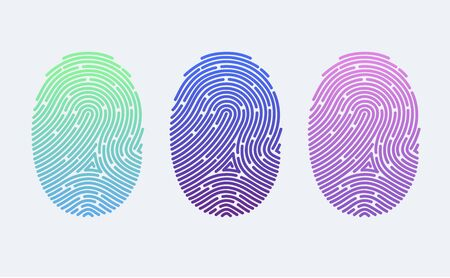 Fingerprints. Cyber security concept. Digital security authentication concept. Biometric authorization. Identification. Vector illustration of the fingerprint of different colors on a white background