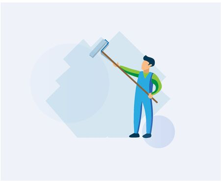 A man paints a roller wall. Man is holding paint roller in hands. Flat design vector illustration of worker at work. Customer service. Professional worker in blue and green uniform. Cartoon style Ilustracja