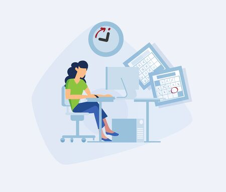 Girl at the office desk. Concept flat vector illustration woman working on a computer in office space. Elegant businesswoman in the workplace. Office workers side view. Freelancer female sitting poses Ilustracja