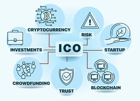 Banner Initial Coin Offering concept. ICO. Startup. Blockchain. Cryptocurrency. Crowdfunding. Investment and risk. Vector illustration. Can be used for web design, presentation, printed design, banner