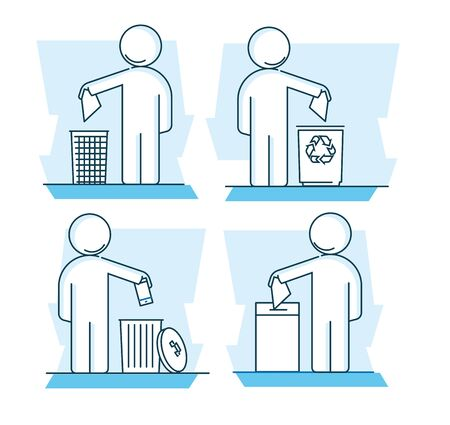 Modern linear pictogram of waste collection. Set of concept line icons waste collection. Waste collection. Sorting of waste. Sorting of garbage. For infographic, web design, website, app, print design