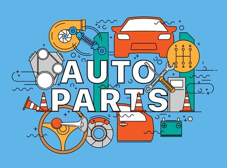 Auto parts. Lettering flat line design concepts of auto parts. Thin line flat design banners for website, web design, catalog, booklet, promotional products, info graphics, printed materials Ilustracja