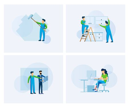Flat modern design vector illustration set people at work. Woman working on a computer in office space. Two men with the help of a ladder hang kitchen cabinets. A man paints a roller wall
