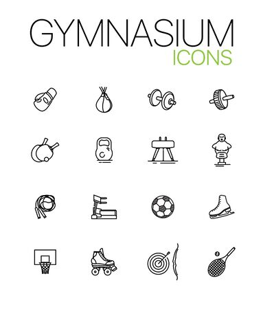 Gymnasium icons. Set of sporting icons. Fitness, workout, gym. Linear pictograms isolated on white background. Can be used for web design, applications, mobile interface, presentation, printed design